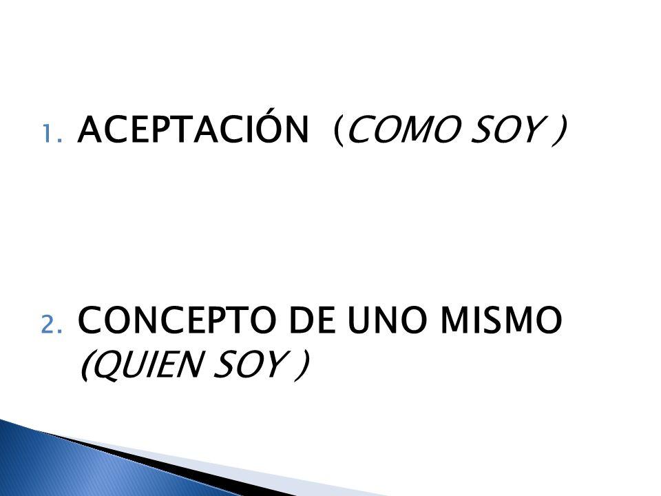 ACEPTACIÓN (COMO SOY ) CONCEPTO DE UNO MISMO (QUIEN SOY )