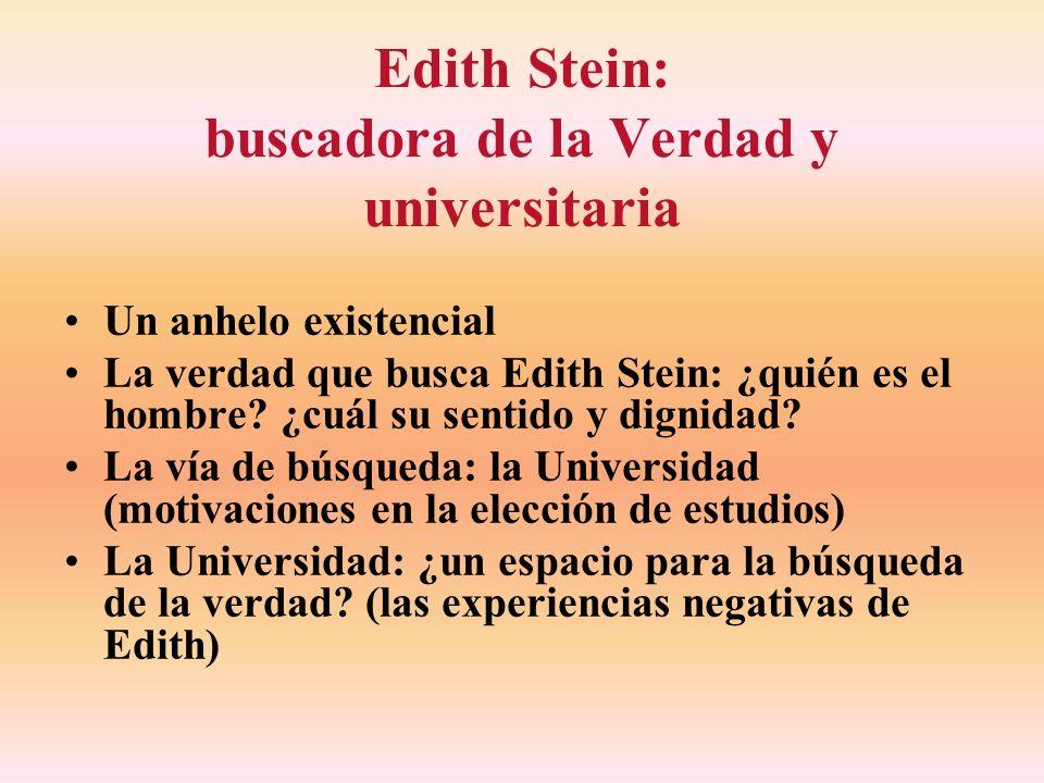 Edith Stein: buscadora de la Verdad y universitaria