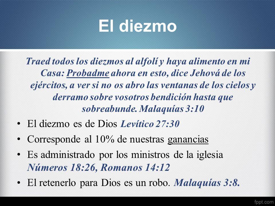 El diezmo El diezmo es de Dios Levítico 27:30