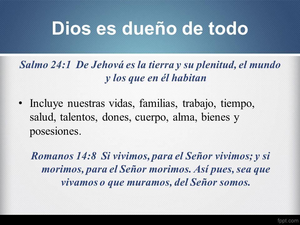 Dios es dueño de todo Salmo 24:1 De Jehová es la tierra y su plenitud, el mundo y los que en él habitan.