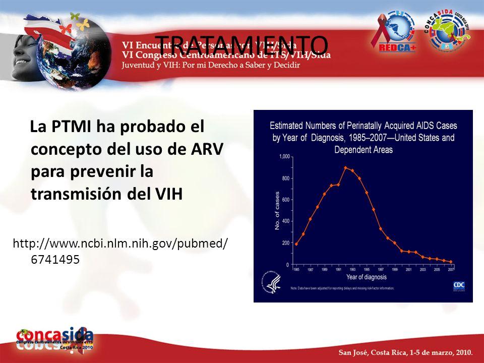 TRATAMIENTO La PTMI ha probado el concepto del uso de ARV para prevenir la transmisión del VIH.