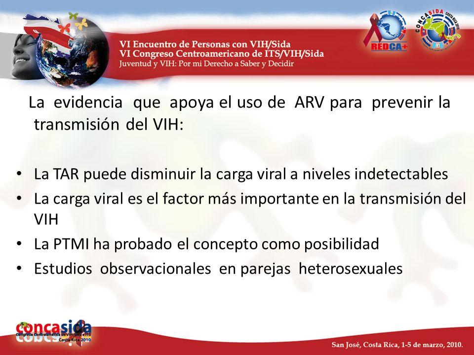 La evidencia que apoya el uso de ARV para prevenir la transmisión del VIH: