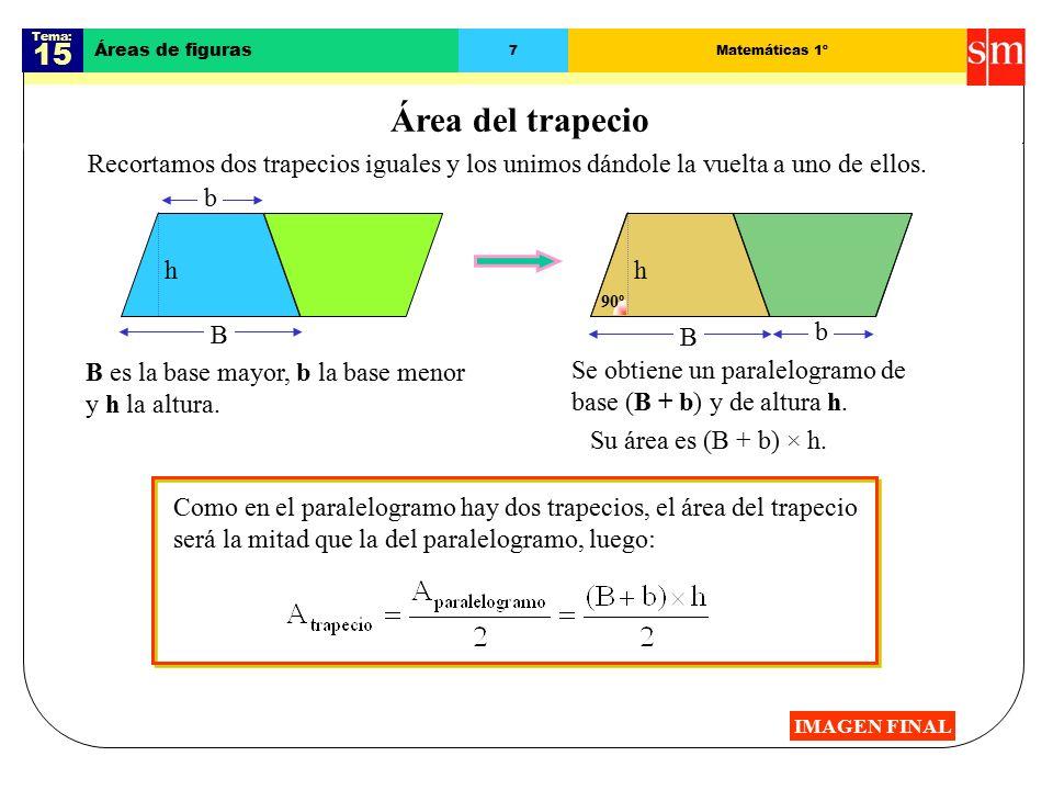 Tema: 15. Áreas de figuras. 7. Matemáticas 1º. Área del trapecio.
