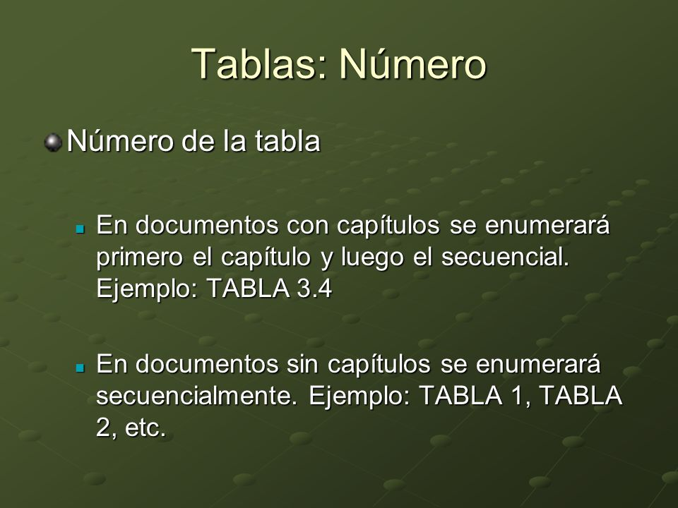 Tablas: Número Número de la tabla