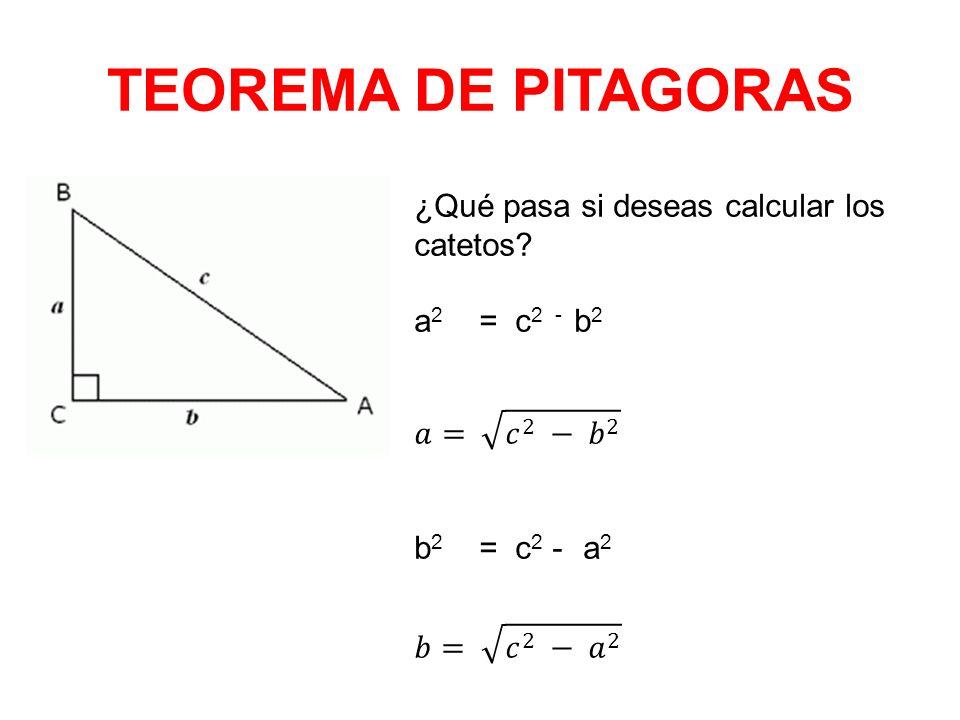 TEOREMA DE PITAGORAS ¿Qué pasa si deseas calcular los catetos