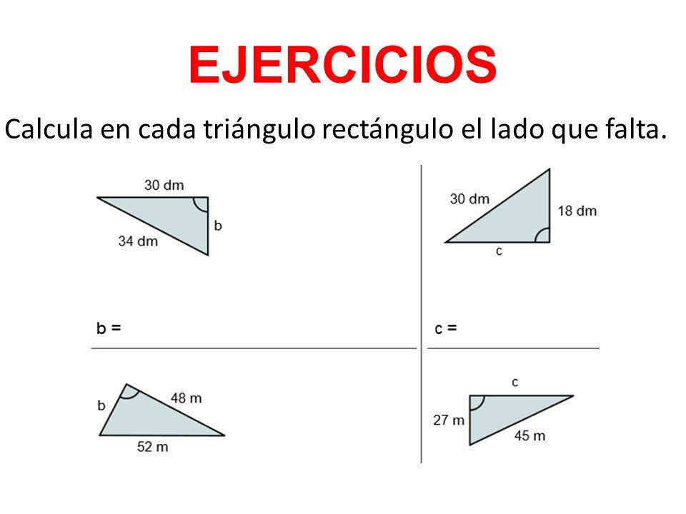 EJERCICIOS Calcula en cada triángulo rectángulo el lado que falta.