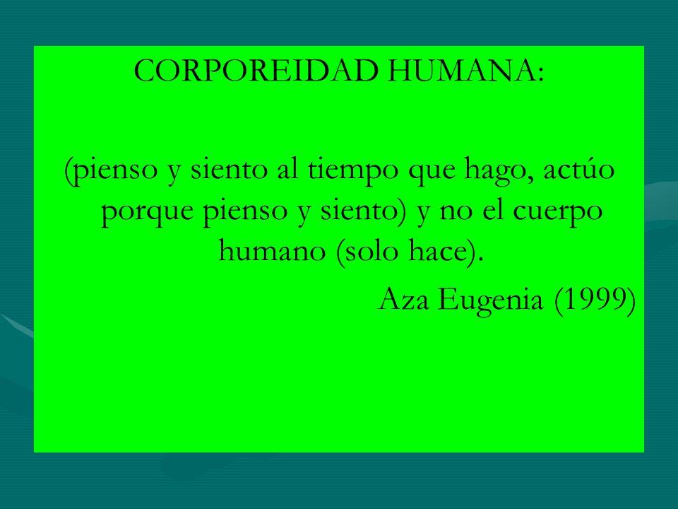 CORPOREIDAD HUMANA: (pienso y siento al tiempo que hago, actúo porque pienso y siento) y no el cuerpo humano (solo hace).