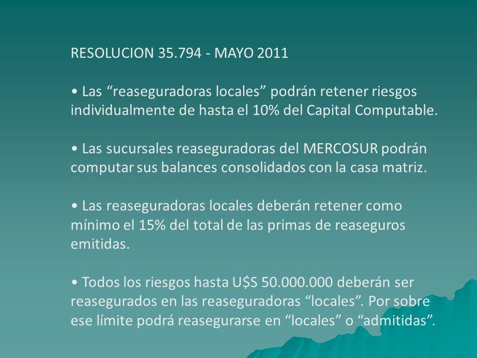 RESOLUCION 35.794 - MAYO 2011 • Las reaseguradoras locales podrán retener riesgos. individualmente de hasta el 10% del Capital Computable.