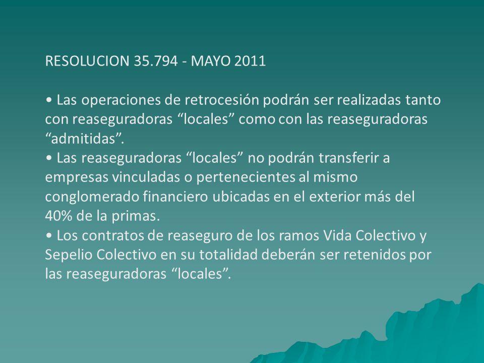 RESOLUCION 35.794 - MAYO 2011 • Las operaciones de retrocesión podrán ser realizadas tanto. con reaseguradoras locales como con las reaseguradoras.