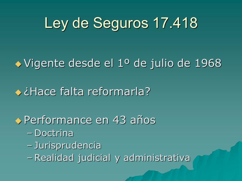 Ley de Seguros 17.418 Vigente desde el 1º de julio de 1968
