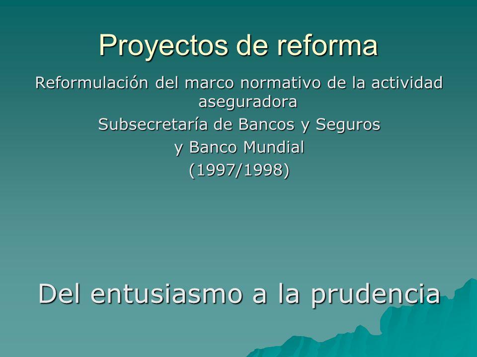 Proyectos de reforma Del entusiasmo a la prudencia