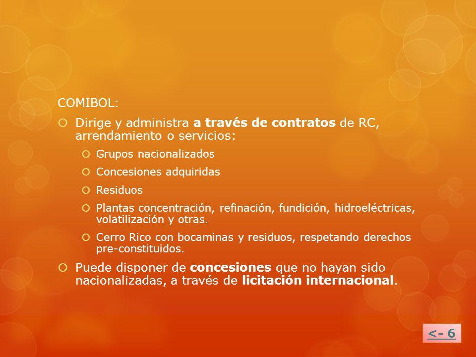 COMIBOL: Dirige y administra a través de contratos de RC, arrendamiento o servicios: Grupos nacionalizados.