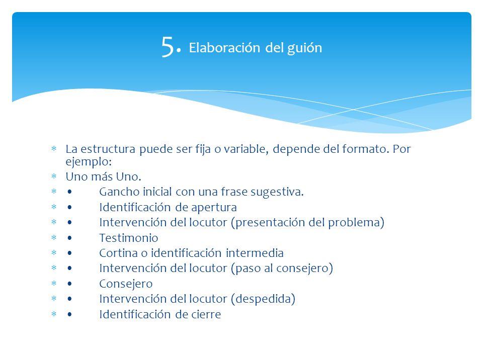 5. Elaboración del guión La estructura puede ser fija o variable, depende del formato. Por ejemplo: