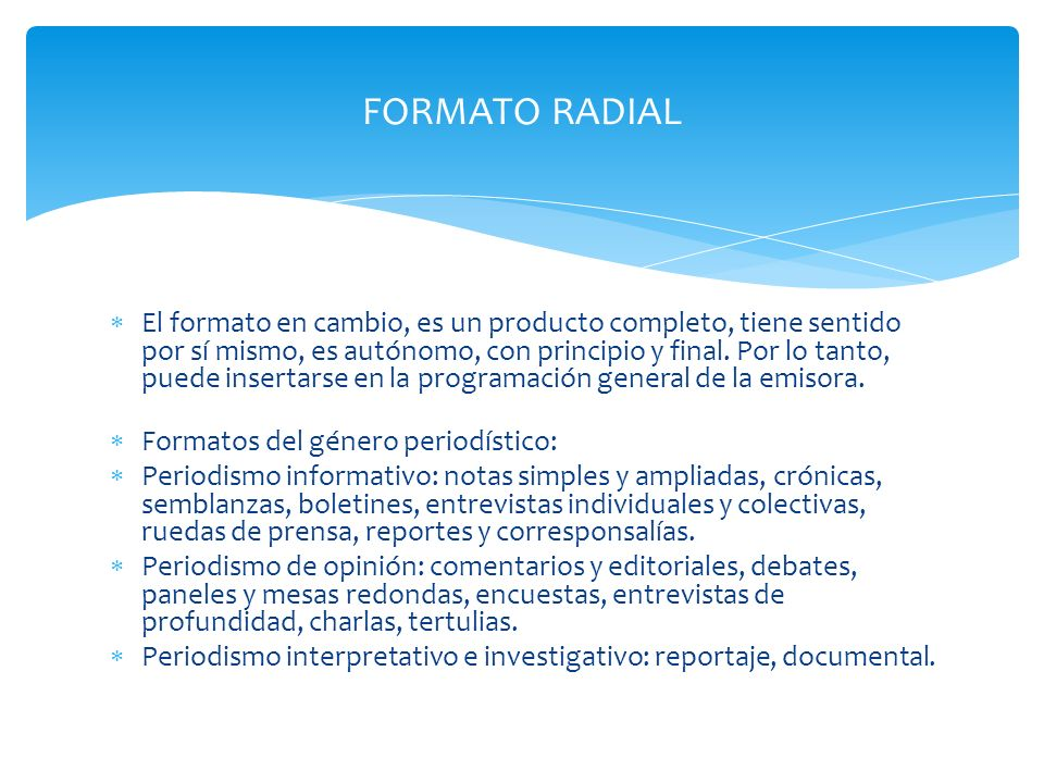 FORMATO RADIAL