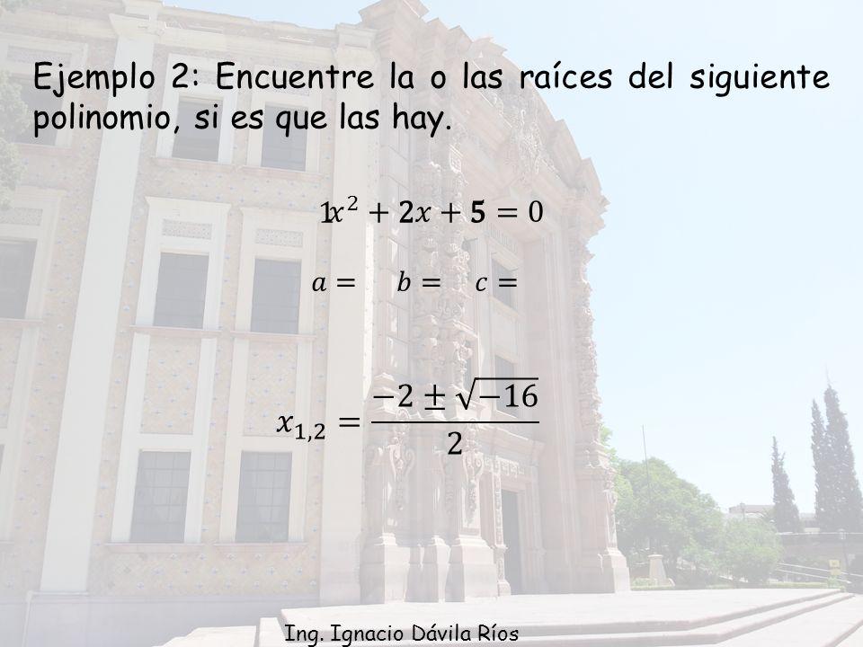 Ejemplo 2: Encuentre la o las raíces del siguiente polinomio, si es que las hay.