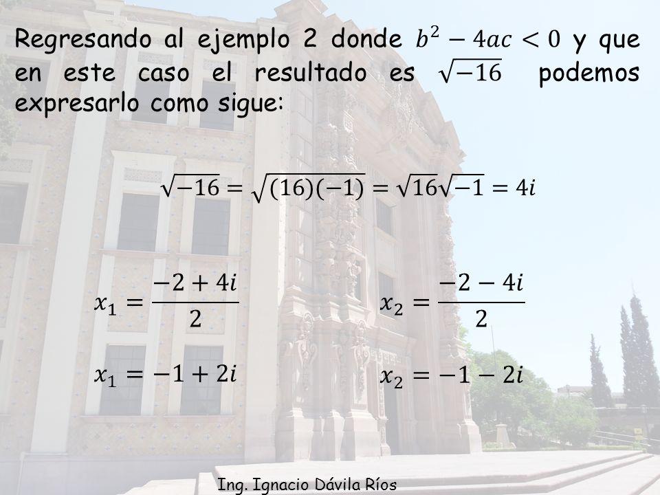 Regresando al ejemplo 2 donde 𝑏 2 −4𝑎𝑐<0 y que en este caso el resultado es −16 podemos expresarlo como sigue:
