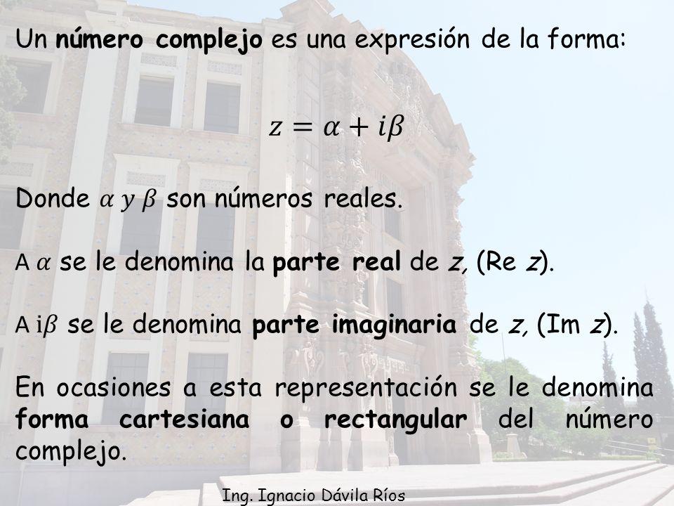 𝑧=𝛼+𝑖𝛽 Un número complejo es una expresión de la forma: