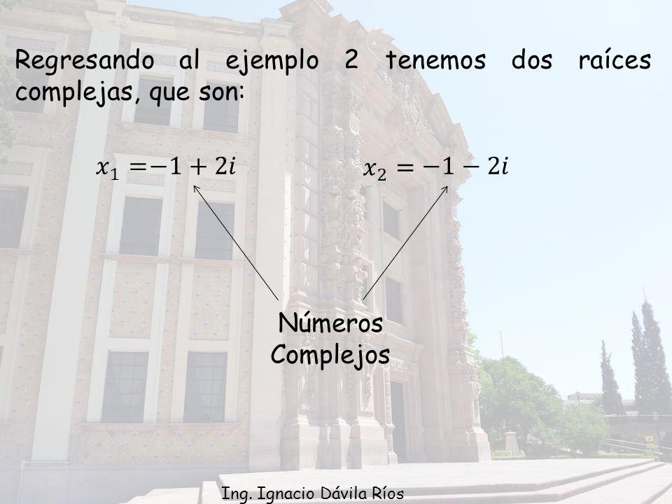 Regresando al ejemplo 2 tenemos dos raíces complejas, que son: