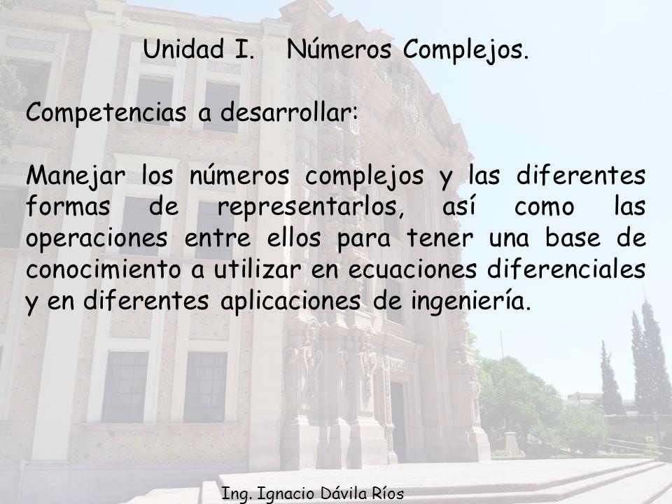 Unidad I. Números Complejos.
