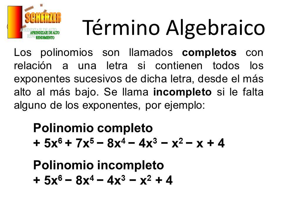 Término Algebraico SCHERZER APRENDIZAJE DE ALTO RENDIMIENTO