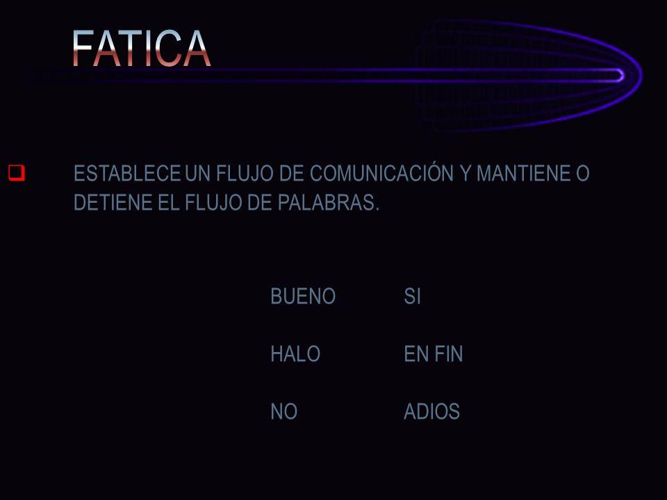 FATICA ESTABLECE UN FLUJO DE COMUNICACIÓN Y MANTIENE O DETIENE EL FLUJO DE PALABRAS. BUENO SI. HALO EN FIN.