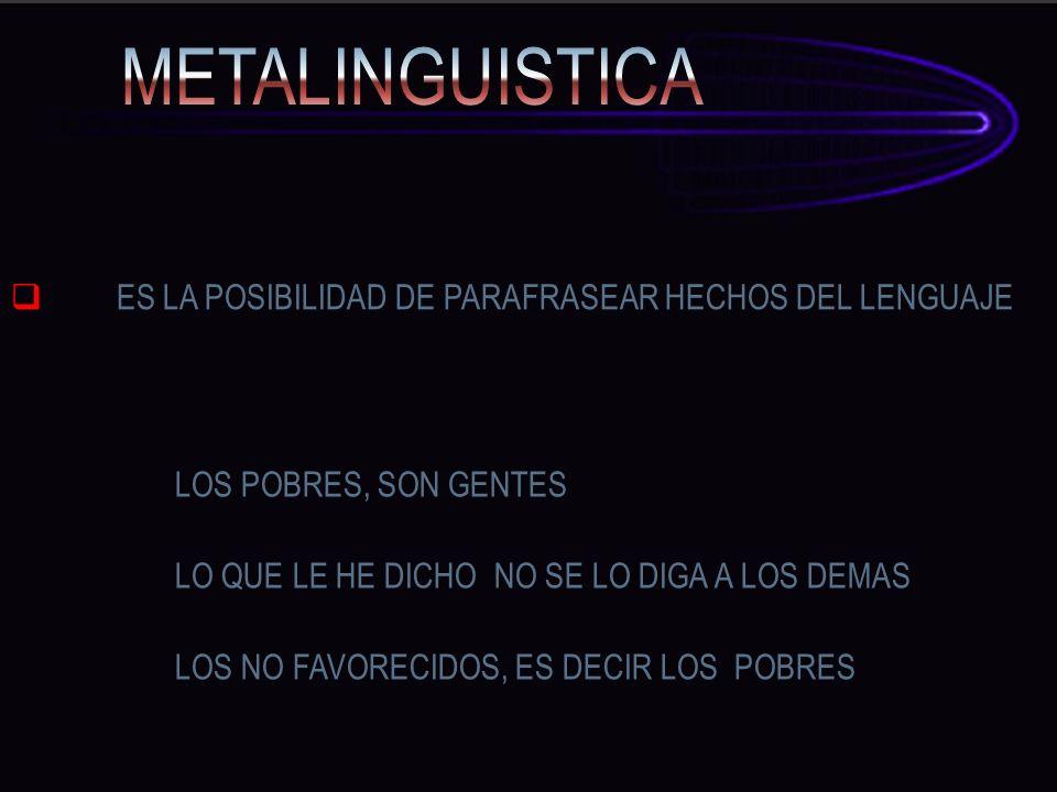 METALINGUISTICA ES LA POSIBILIDAD DE PARAFRASEAR HECHOS DEL LENGUAJE