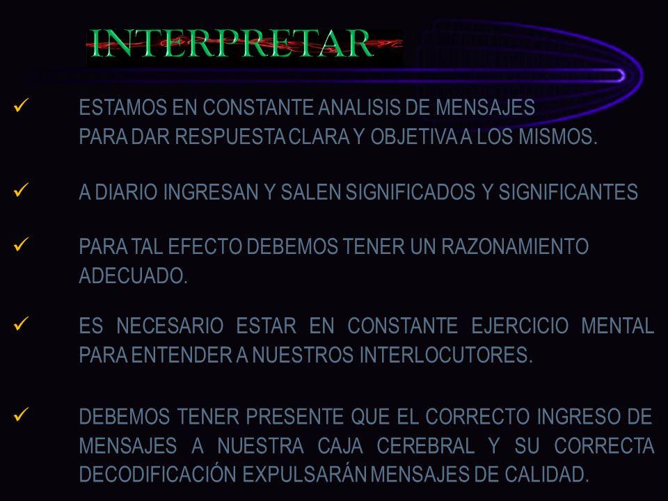 INTERPRETAR ESTAMOS EN CONSTANTE ANALISIS DE MENSAJES