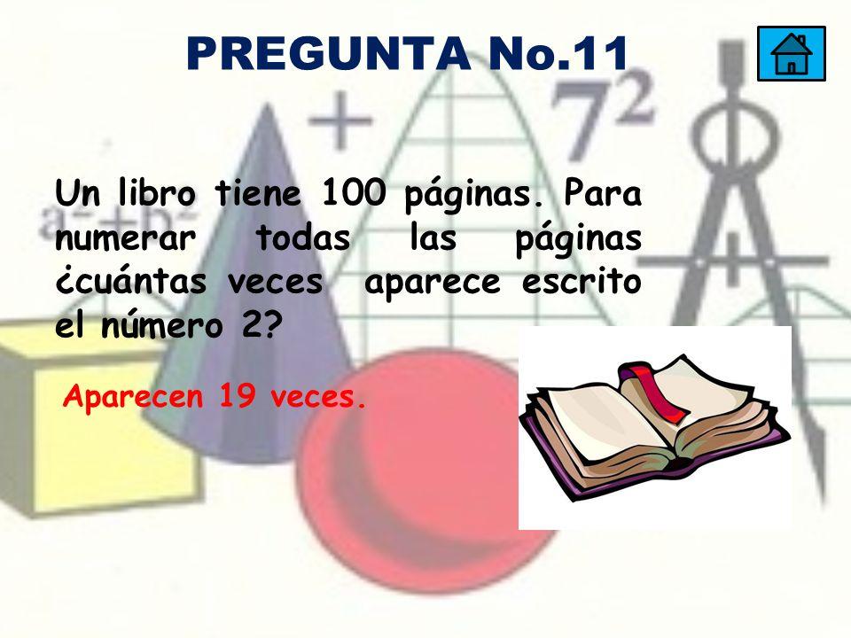 PREGUNTA No.11 Un libro tiene 100 páginas. Para numerar todas las páginas ¿cuántas veces aparece escrito el número 2