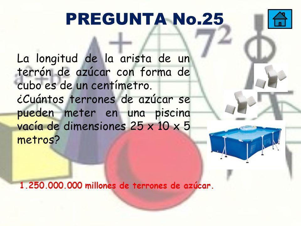 PREGUNTA No.25 La longitud de la arista de un terrón de azúcar con forma de cubo es de un centímetro.