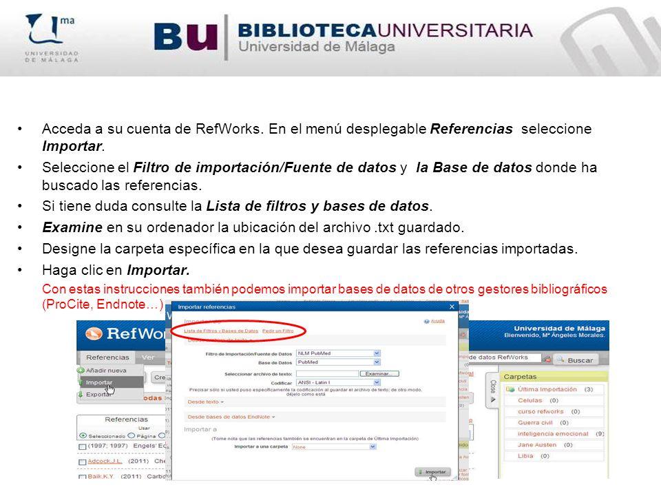 Si tiene duda consulte la Lista de filtros y bases de datos.