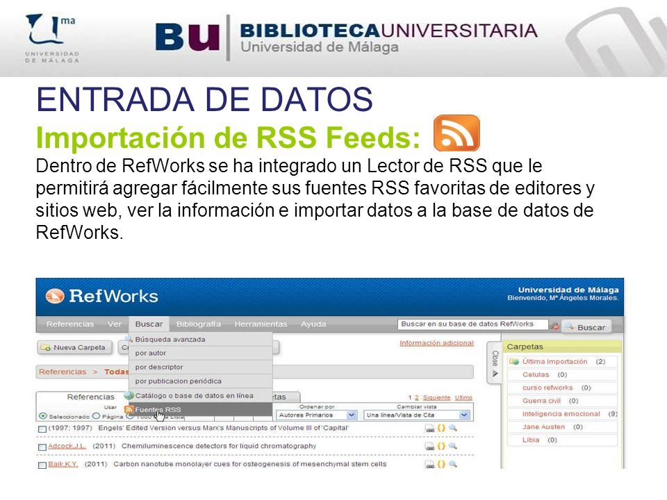 ENTRADA DE DATOS Importación de RSS Feeds:
