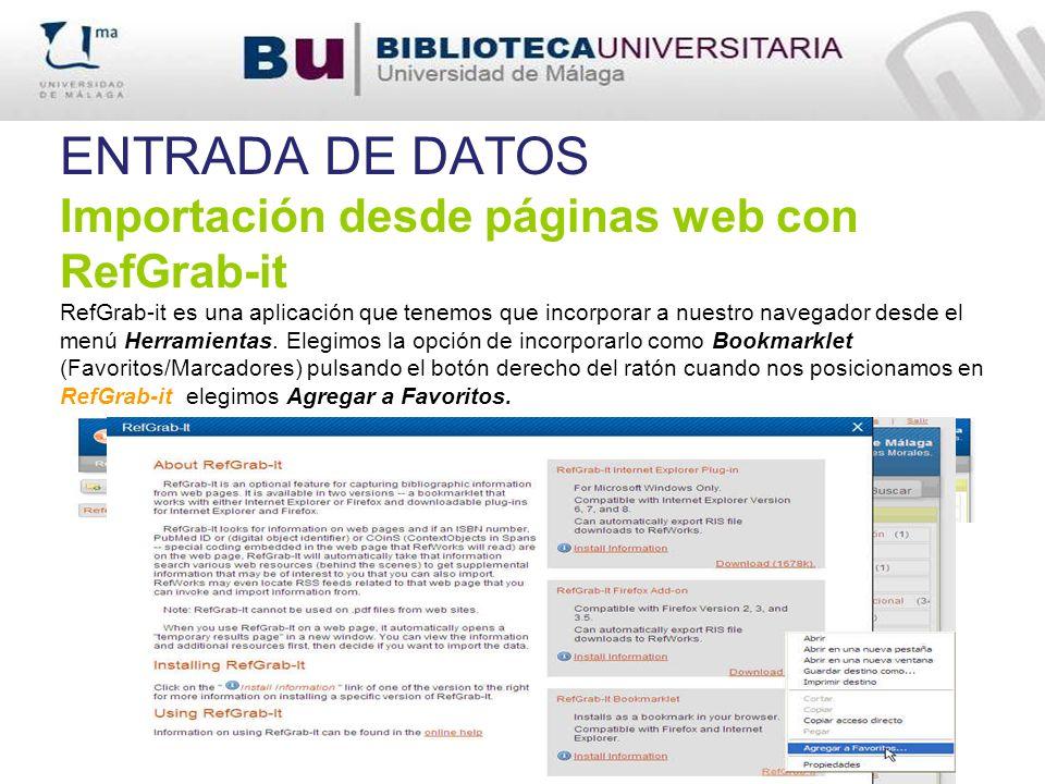 ENTRADA DE DATOS Importación desde páginas web con RefGrab-it