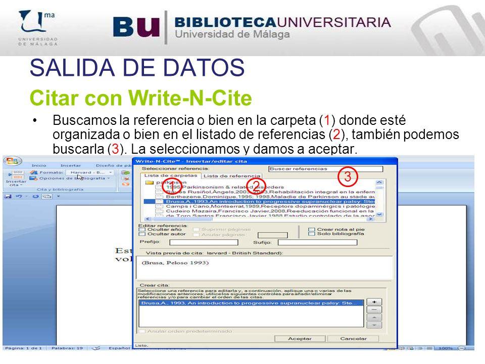 SALIDA DE DATOS Citar con Write-N-Cite
