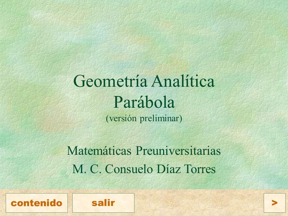 Geometría Analítica Parábola (versión preliminar)