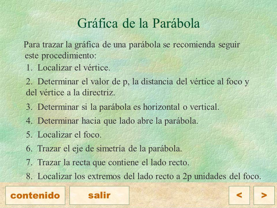 Gráfica de la Parábola Para trazar la gráfica de una parábola se recomienda seguir este procedimiento: