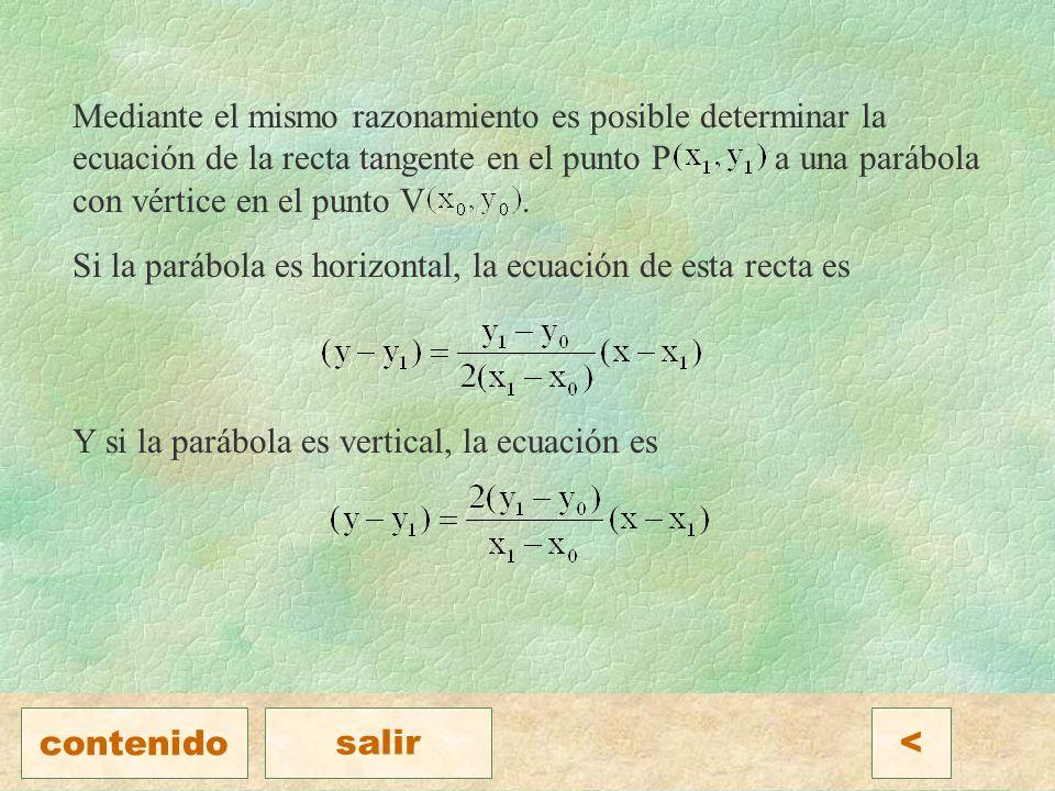 Mediante el mismo razonamiento es posible determinar la ecuación de la recta tangente en el punto P a una parábola con vértice en el punto V .