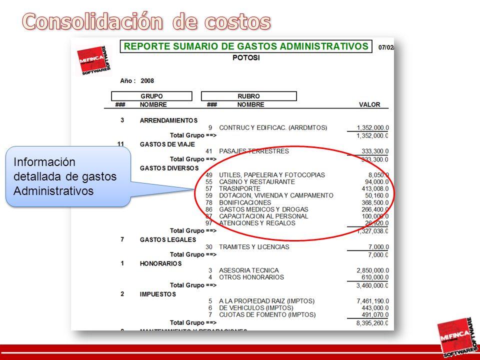 Información detallada de gastos Administrativos