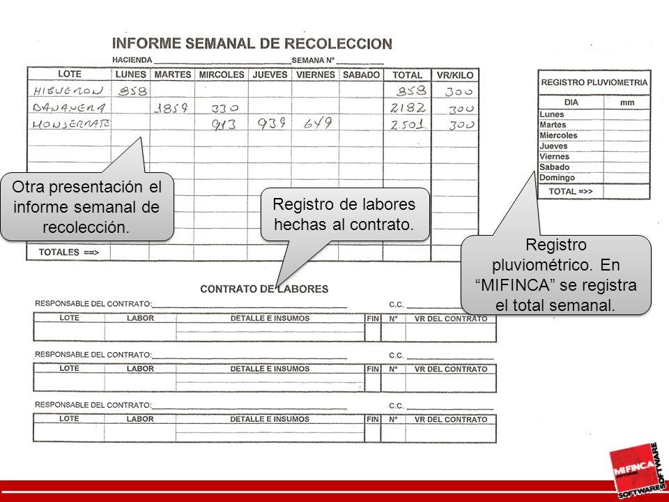 Otra presentación el informe semanal de recolección.