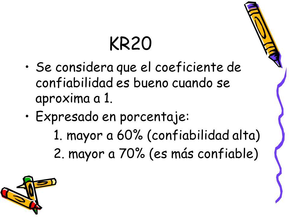 KR20 Se considera que el coeficiente de confiabilidad es bueno cuando se aproxima a 1. Expresado en porcentaje: