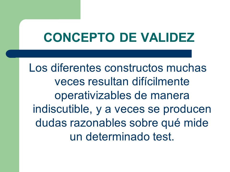 CONCEPTO DE VALIDEZ