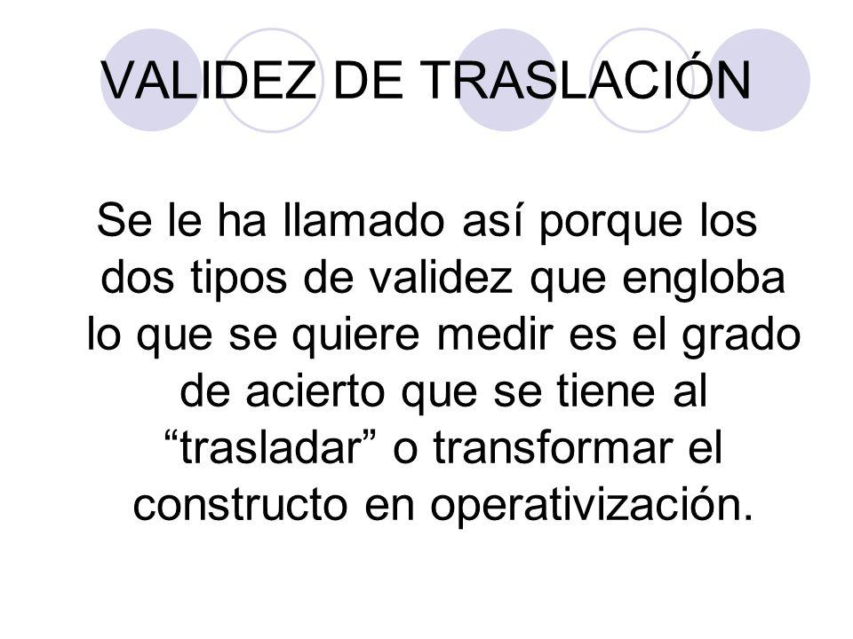 VALIDEZ DE TRASLACIÓN