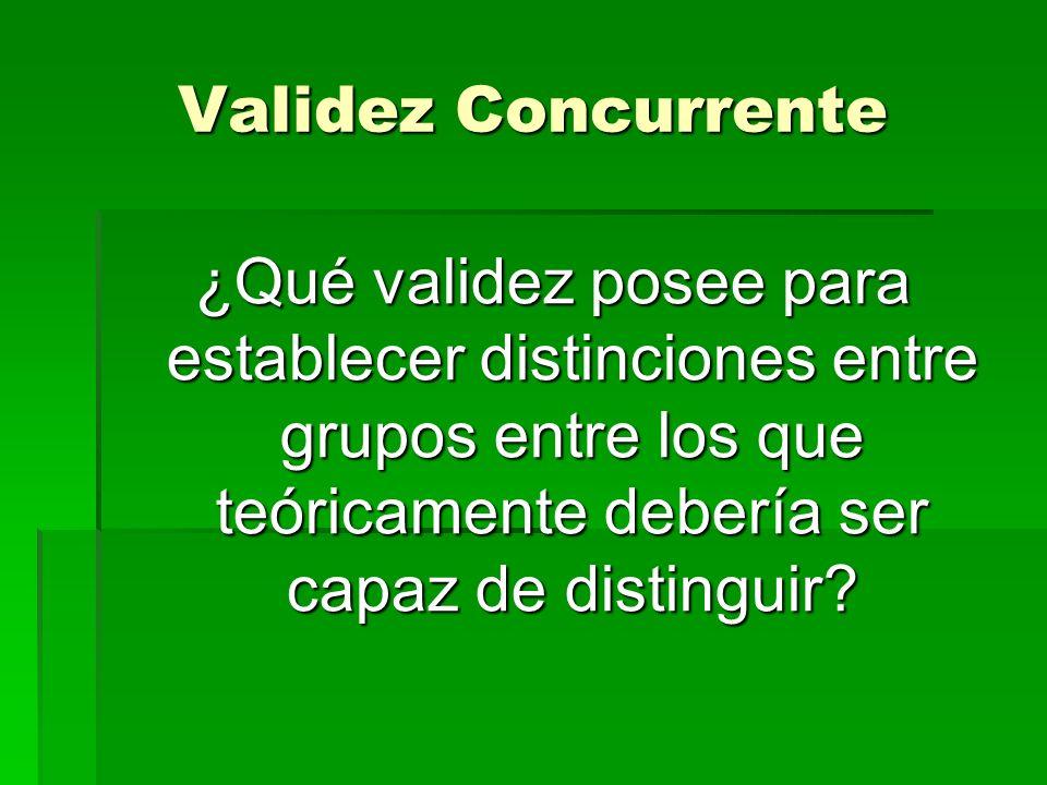 Validez Concurrente ¿Qué validez posee para establecer distinciones entre grupos entre los que teóricamente debería ser capaz de distinguir