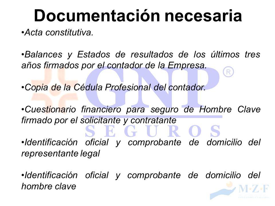 Documentación necesaria