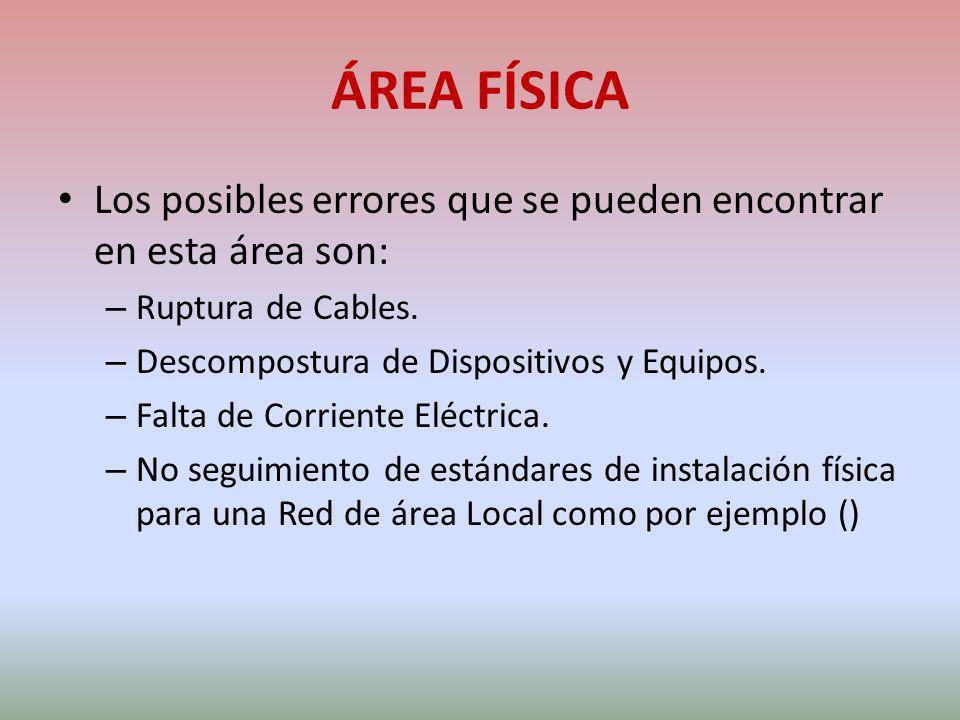 ÁREA FÍSICA Los posibles errores que se pueden encontrar en esta área son: Ruptura de Cables. Descompostura de Dispositivos y Equipos.
