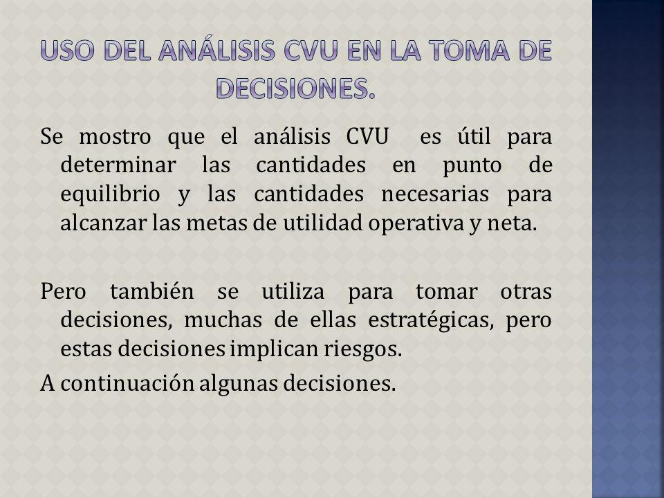 Uso del análisis cvu en la toma de decisiones.