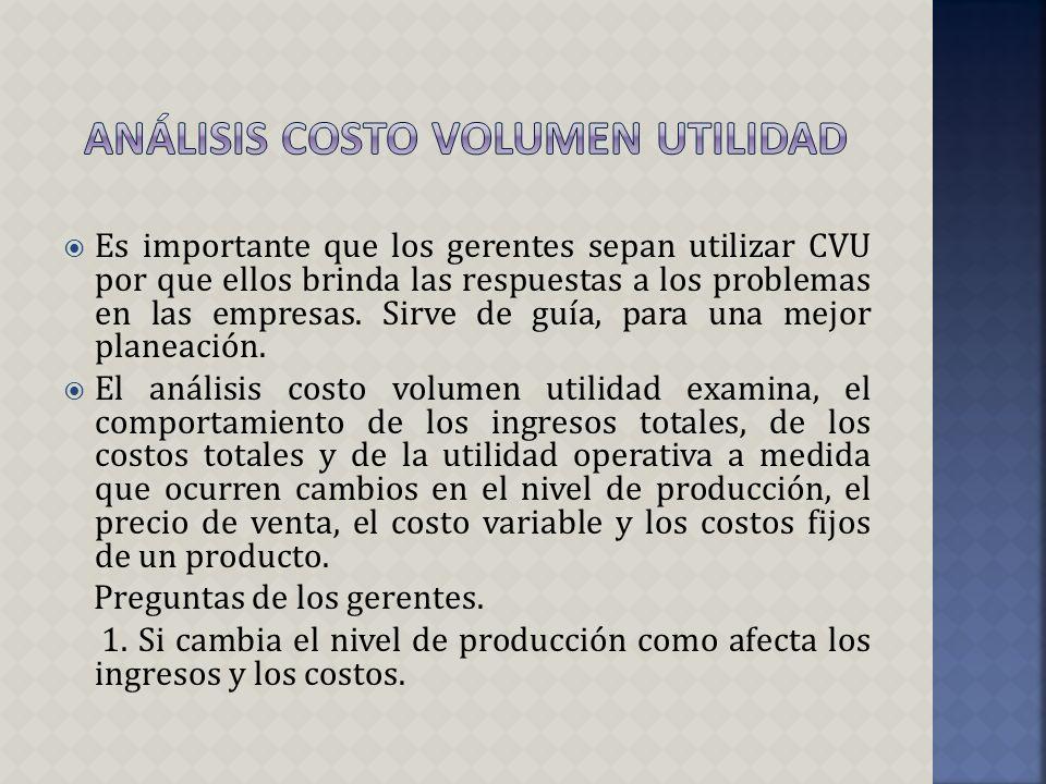 Análisis costo volumen utilidad