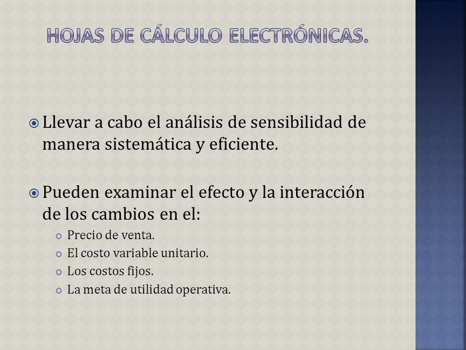 Hojas de Cálculo Electrónicas.