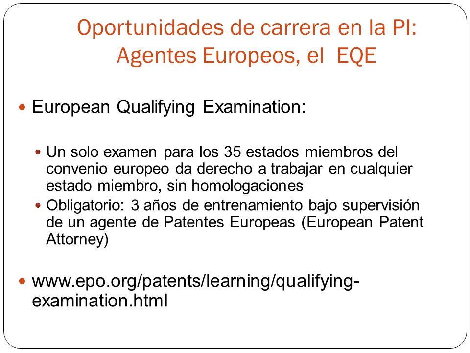 Oportunidades de carrera en la PI: Agentes Europeos, el EQE