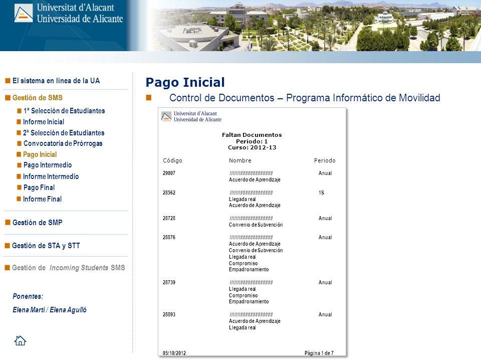Pago Inicial Control de Documentos – Programa Informático de Movilidad