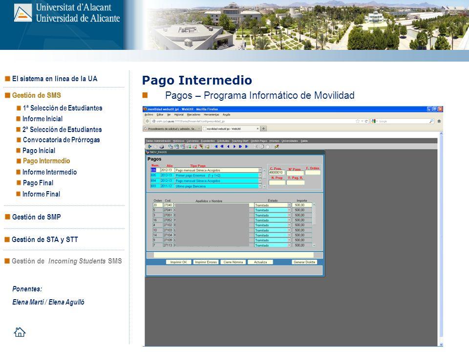 Pago Intermedio Pagos – Programa Informático de Movilidad